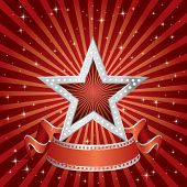 vector silver star on the red starry burst