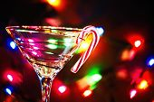 Christmas martini with candy cane