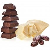 cocoa butter , chocolate pieces tower stack and beans heap isolated on white background
