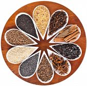 different spice seed in white porcelain dishes surface top view  over wooden board background