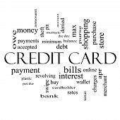Credit Card Word Cloud Concept In Black And White