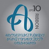 Blue Ribbon Alphabet And Numbers Vector