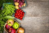 stock photo of vegetable food fruit  - Fresh farmers market fruit and vegetable from above with copy space - JPG