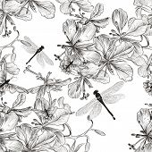 Vector Seamless Pattern With Flowers In Monochromic Color