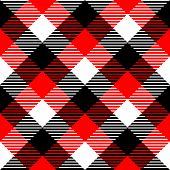 Checkered gingham fabric seamless pattern in black white and red, vector