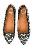 Pair Of New Black Leather Women's Ballet Shoes With Steel Studs