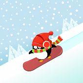 Snowboarding Penguin