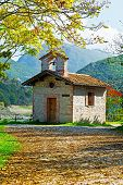stock photo of apennines  - The Small Church High Up in the Apennine Mountains Italy - JPG