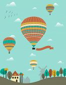 Hot Air Balloons Over The Country.