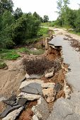 Collapse Of The Paved Road In The Forest