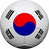 South Korean Flag With Soccer Ball