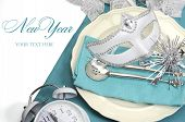 Bring In The New Year Dining Table Place Setting With Masquerade Mask, Retro Vintage Pocket Watch Cl