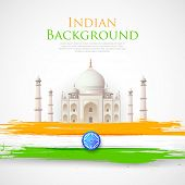 stock photo of ashok  - illustration of Taj Mahal with Tricolor India Flag - JPG