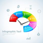 illustration of Business Infographics Pie Chart options with pointer for presentation and promotion