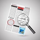 illustration of searching job in newspaper with magnifying glass