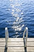 Dock On Summer Lake With Sparkling Water