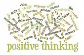 cloud of words or tags related to positive and creative thinking