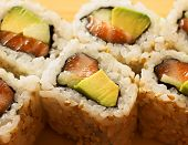 rolls with shrimp, crab and avocado