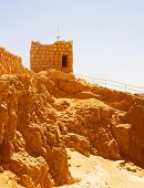 stock photo of masada  - Ruins at Masada with Dead Sea in background  - JPG