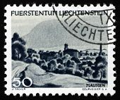 Postage Stamp Liechtenstein 1944 View Of Mauren, Liechtenstein