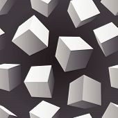 Floating Cubes Seamless Pattern