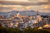 stock photo of emanuele  - Panorama of Rome and in the background the Altar of the Fatherland - JPG