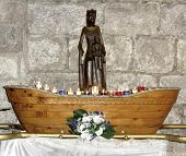 Wooden Black Madonna copy inside of the Basilica of St-Saveur in Rocamadour