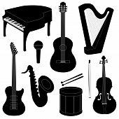 foto of sax  - Set of musical instruments silhouettes isolated on white - JPG