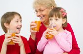 Family Drinking Juice