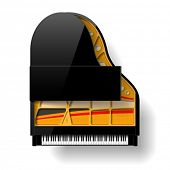 Black grand piano with open top. Vector.
