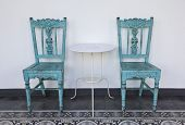Blue Wooden Chair With Table.