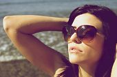 Old Style Foto Woman Enjoying Sun And Vacation