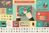 stock photo of pie  - Flat Business Infographic Elements plus Icon Set - JPG