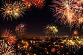 picture of firework display  - Whole city celebrating the New Year or any national event with fantastic multi - JPG