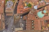 Aerial cityscape view from two towers, Bologna, Italy