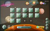foto of status  - Illustration of a funny space cosmic graphic game user interface background in cartoon style with basic buttons and functions status bar for wide screen tablet - JPG