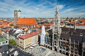 MUNICH, GERMANY - MAY 10, 2012: Aerial view of Munich -  Marienplatz, Neues Rathaus and Frauenkirche