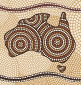 Map of Australia painting in the Aboriginal style
