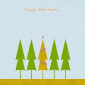 New Year Background With Fir