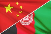 Series Of Ruffled Flags. China And Islamic Republic Of Afghanistan.