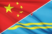 Series Of Ruffled Flags. China And Aruba.