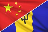 Series Of Ruffled Flags. China And Barbados.