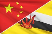 Series Of Ruffled Flags. China And Nation Of Brunei, Abode Of Peace.