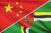 Series Of Ruffled Flags. China And Commonwealth Of Dominica.