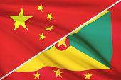 Series Of Ruffled Flags. China And Grenada.