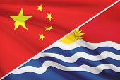 Series Of Ruffled Flags. China And Independent And Sovereign Republic Of Kiribati.