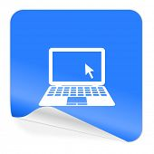 computer blue sticker icon