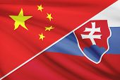 Series Of Ruffled Flags. China And Slovak Republic.