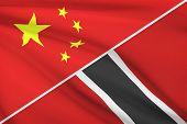 Series Of Ruffled Flags. China And Republic Of Trinidad And Tobago.