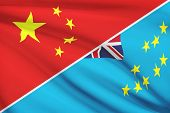 Series Of Ruffled Flags. China And Tuvalu.
